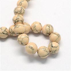PeachPuff Dyed Synthetic Turquoise Gemstone Bead Strands, Round, PeachPuff, 6mm, Hole: 1mm; about 66pcs/strand, 15.7""