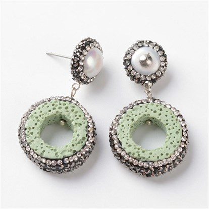 Lava Pendants Ear Studs, with Rhinestone and Brass Findings, Donut, Platinum-1