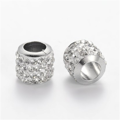 Polymer Clay Rhinestone European Beads, Large Hole Rondelle Beads, with Iron Core, 8x7mm, Hole: 4.5mm-1