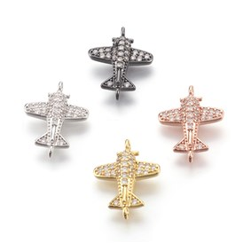 Environmental Brass Micro Pave Cubic Zirconia Links, Lead Free & Cadmium Free & Nickel Free, Airplane