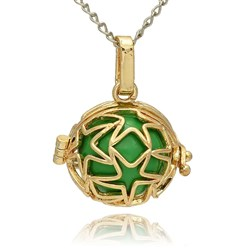 LimeGreen Golden Tone Brass Hollow Round Cage Mexican Ball Pendants, with No Hole Spray Painted Brass Ball Beads, LimeGreen, 23x24x18mm, Hole: 3x8mm