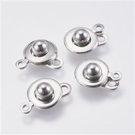 304 Stainless Steel Snap Clasps, Round