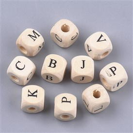 Wooden European Beads, Large Hole Beads, Undyed, Cube with Letter
