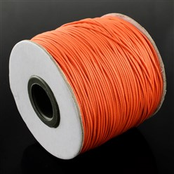 OrangeRed Korean Waxed Polyester Cord, Bead Cord, OrangeRed, 0.8mm; about 185yards/roll