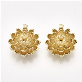 Brass Links, Real 18K Gold Plated, Flower