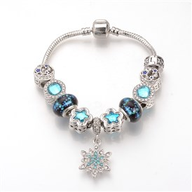 European Bracelets, with Tibetan Style Alloy Rhinestone Enamel Beads, Resin Beads and Brass Chains, Antique Silver, Star