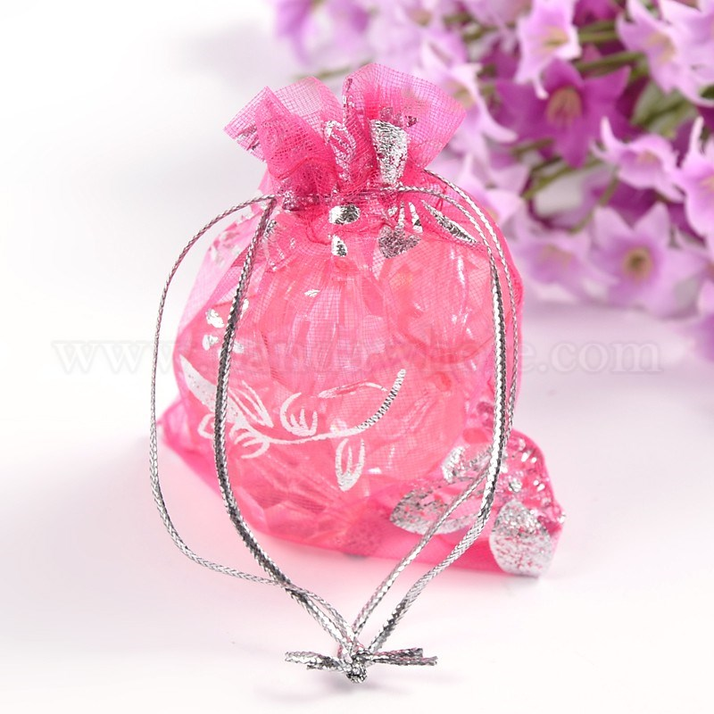Organza Gift Bags, Silver Flower, with Drawstring (T02FK)