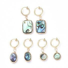 Natural Abalone Shell/Paua Shell Clip-on Hoop Earrings, with 316 Stainless Steel Clip-on Earrings Findings, Oval & Flat Round & Rectangle