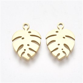 304 Stainless Steel Charms, Monstera Leaf