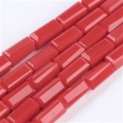 "Red Opaque Glass Beads Strands, Faceted, Cuboid, Red, 6.5~7x3~3.5x3~3.5mm, Hole: 0.5mm; about 80pcs/strand, 20.6~22""(52.5~56cm)"