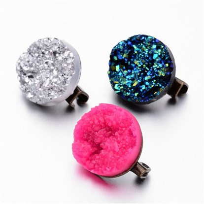 Brass Brooches, with Druzy Resin Cabochons, Flat Round-1