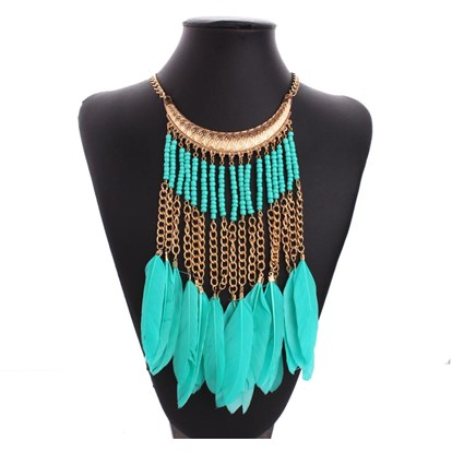 "18K Real Gold Plated Alloy Glass Beaded Tassels Bib Necklaces, Fringe Chain Necklaces, with Feather Pendants and Chain Tassels, 16""-1"