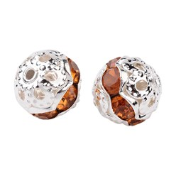 Topaz Brass Rhinestone Beads, Grade A, Silver Metal Color, Round, Topaz, 8mm, Hole: 1mm; 20pcs/box