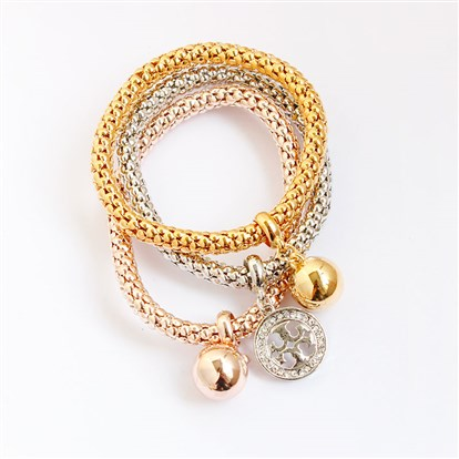 Alloy Stretch Charm Bracelets, Popcorn Chain, with Rhinestone, Flat Round and Ball-1