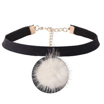 Imitation Leather Choker Necklaces, with Alloy and Hair Ball-1
