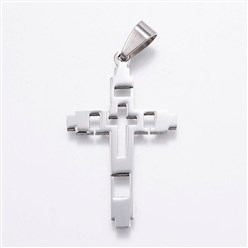 Stainless Steel Color 304 Stainless Steel Pendants, Cross, Stainless Steel Color, 41x24.5x2mm, Hole: 4.5x8.5mm