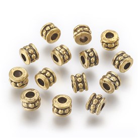 Tibetan Style Alloy Beads, Lead Free & Cadmium Free, Column, 6mm in diameter, 4.5mm thick, hole: 2.5mm
