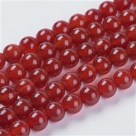 Natural Red Agate Beads Strands, Dyed, Round, 8mm, Hole: 1mm