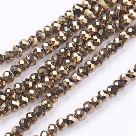 Electroplate Glass Beads Strands, Faceted, Rondelle, 4x3mm, Hole: 1mm, about 150pcs/strand, 18.9""