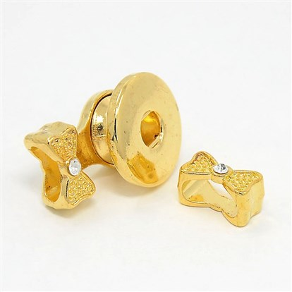 Alloy Rhinestone Leather Cord Clasp Makings, with Brass Snap Finding, Bowknot, 25x19x12mm, Hole: 4mm and 5x10mm-1