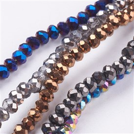 Electroplate Glass Bead Strands, Faceted, Rondelle