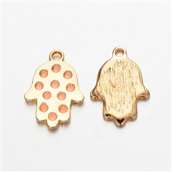 Pink Light Gold Plated Alloy Enamel Hamsa Hand/Hand of Fatima/Hand of Miriam Pendants for Buddha Jewelry, Pink, 23x16x2mm, Hole: 2mm