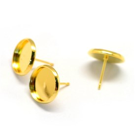 Iron Stud Earring Settings, Flat Round, Tray: 12mm; 14mm; Pin: 0.8mm