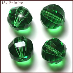 Green Imitation Austrian Crystal Beads, Grade AAA, Faceted, Round, Green, 10mm, Hole: 0.9~1mm