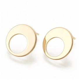 Brass Ear Stud Components, Flat Round
