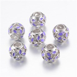 Mauve Alloy Enamel European Beads, Rhinestones, Large Hole Beads, Rondelle with Leaf, Silver, Mauve, 11x9~9.5mm, Hole: 4mm