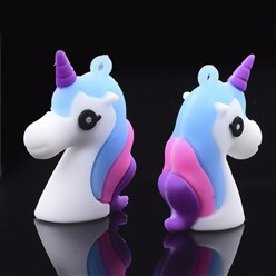 Colorful PVC Plastic Pendants, Unicorn, Colorful, 44x33x14mm, Hole: 2mm