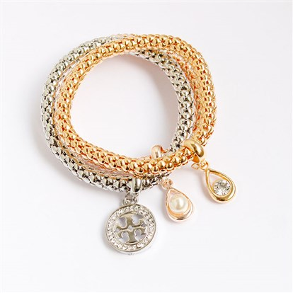 Alloy Stretch Charm Bracelets, Popcorn Chain, with Rhinestone, Ball and Drop-1