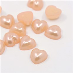 Pink Acrylic Imitation Pearl Cabochons, Dyed, Heart, Pink, 10.5x10.5x5mm; about 1500pcs/bag