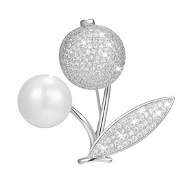 SHEGRACE&reg Brass Safety Brooch, with Grade AAA Cubic Zirconia and Shell Pearl, Round and Leaf