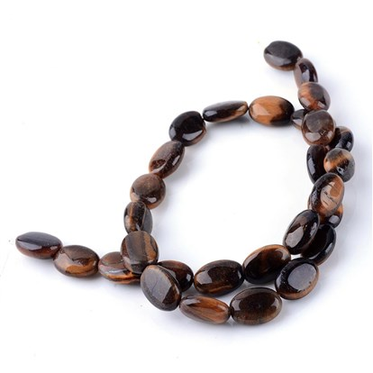 Natural Tiger Eye Bead Strands, Oval-1