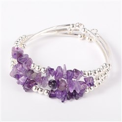 Amethyst Gemstone Chip Bead Cuff Bracelets, with Brass Tube Beads and Iron Round Beads, Silver, Amethyst, 50x55mm