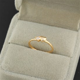 Real 18K Gold Plated Brass Cubic Zirconia Heart Ring