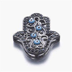 Gunmetal Long-Lasting Plated Brass Micro Pave Cubic Zirconia Pendants, Multi-strand Links, Hamsa Hand/Hand of Fatima/Hand of Miriam with Eye, Gunmetal, 19x16x4mm, Hole: 1x2~5mm
