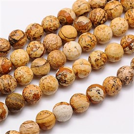 Natural Picture Jasper Beads Strands, Faceted, Round