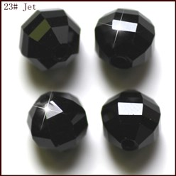Black Imitation Austrian Crystal Beads, Grade AAA, Faceted, Round, Black, 10mm, Hole: 0.9~1mm