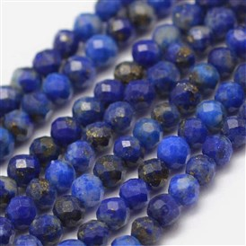 Natural Lapis Lazuli Beads Strands, Faceted, Round