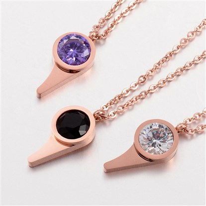304 Stainless Steel Pendants Necklaces, with Cubic Zirconia, Whistle Shape, Rose Gold-1