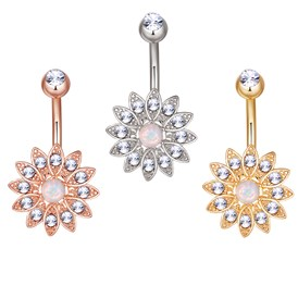 Brass Piercing Jewelry, Belly Rings, with Glass Rhinestone and Opal, Flower