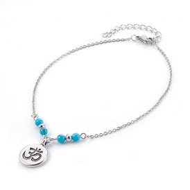 Synthetic Turquoise Charms Anklets, with Tibetan Style Alloy Pendants, 304 Stainless Steel Findings and Iron Eye Pin, Flat Round with Ohm