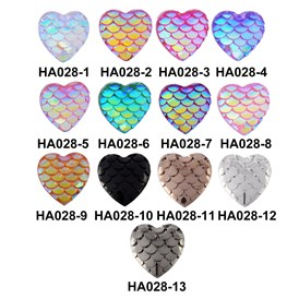 Resin Cabochons, Heart with Mermaid Fish Scale