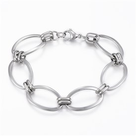 304 Stainless Steel Link Bracelets, with Lobster Claw Clasps, Oval