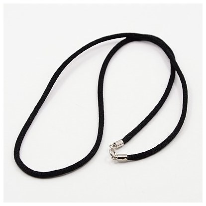 Fashionable Nylon Cord Necklaces Makings, with Sterling Silver Spring Ring Clasps-1