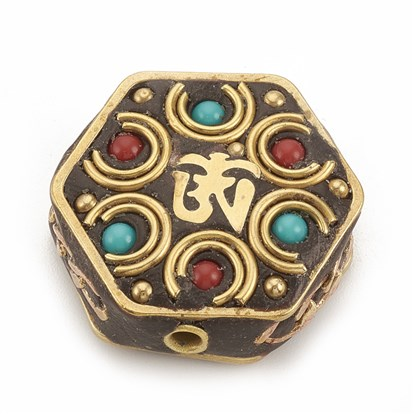 Handmade Indonesia Beads, with Unplated Brass Findings, Hexagon-1