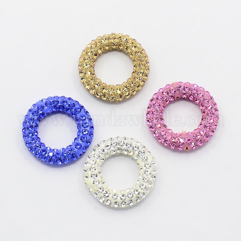 Wholesale Glittering Polymer Clay with Austrian Crystal Beads Frames ...