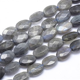 Natural Labradorite Beads Strands, Faceted, Oval